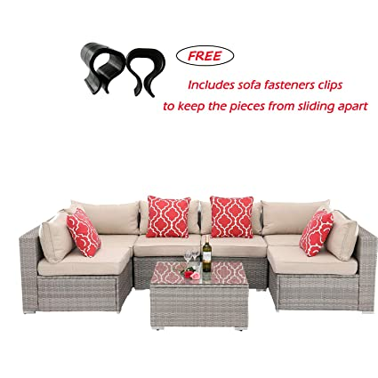 Amazon.com: HTTH 7 Pieces Outdoor Patio Furniture Sofa ...