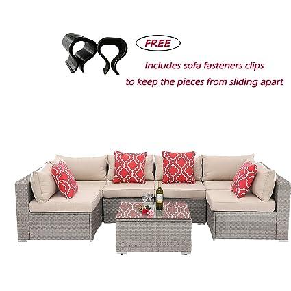 Amazon.com: HTTH 7 Pieces Outdoor Patio Furniture Sofa ...