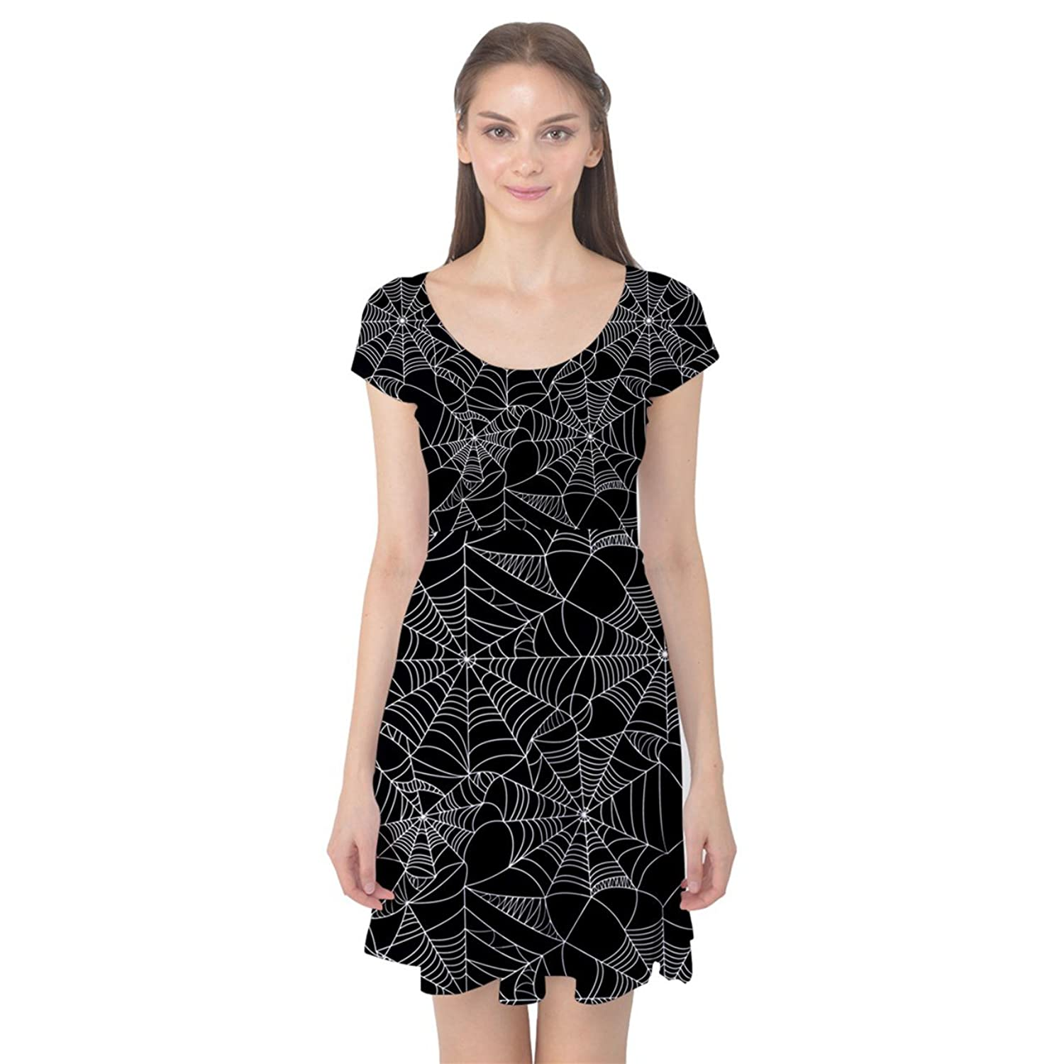 Vintage Retro Halloween Themed Clothing  Black Halloween Spider Web Pattern Cap Sleeve Dress  AT vintagedancer.com
