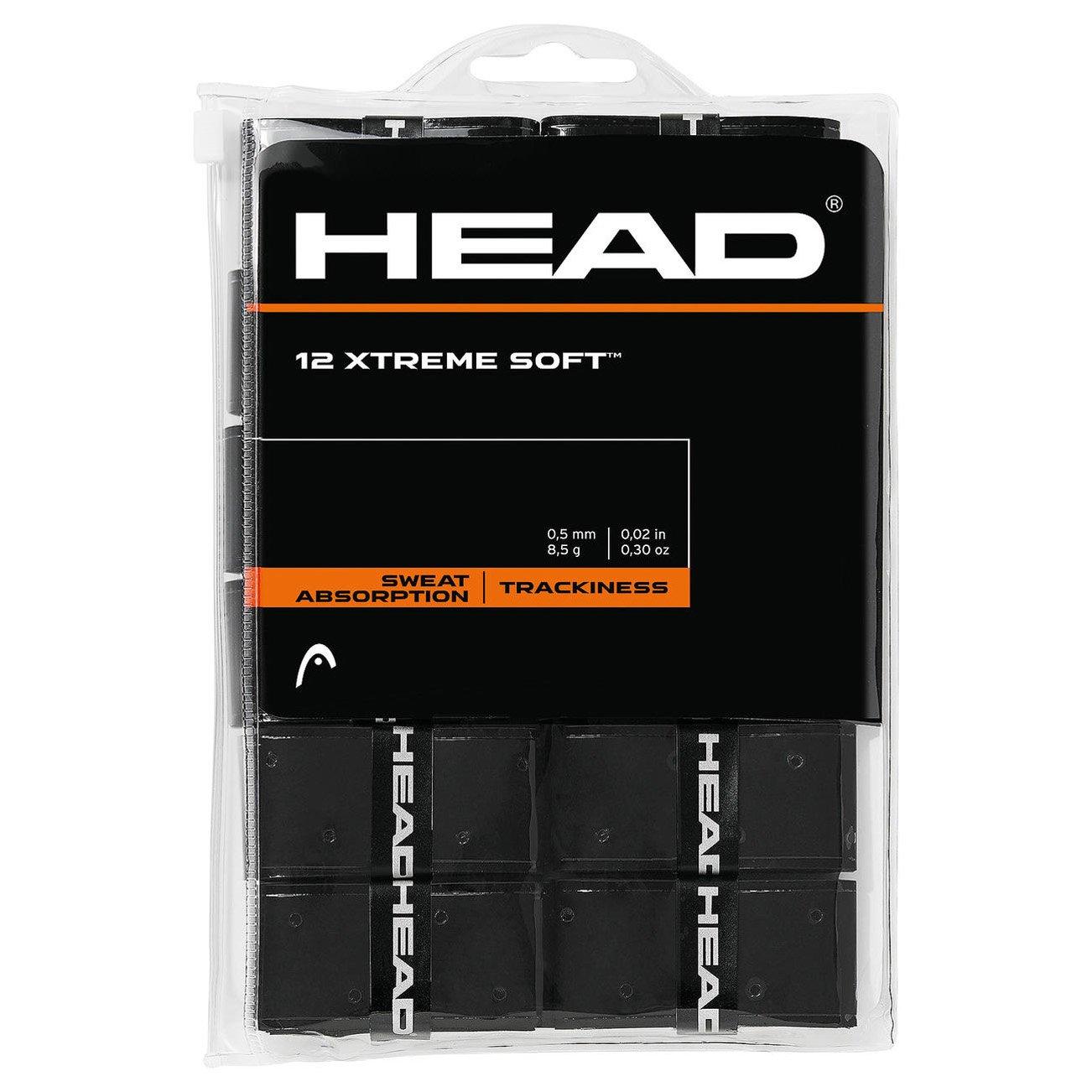 12 Overgrip Head Xtreme Soft negro tennis grips Cinta para mango de raqueta de tenis