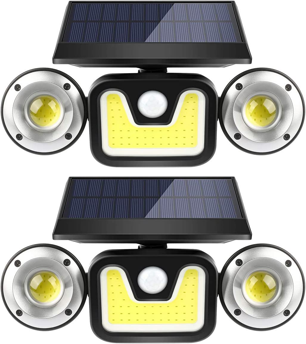 Solar Motion Sensor Lights Outdoor,BFULL 3 Heads Lights Solar Powered,83 COB LED 15000 Lumens Flood Light Motion Detected Spotlights IP67 Waterproof 360 Rotatable for Porch Garden Patio Garage,2 Pack