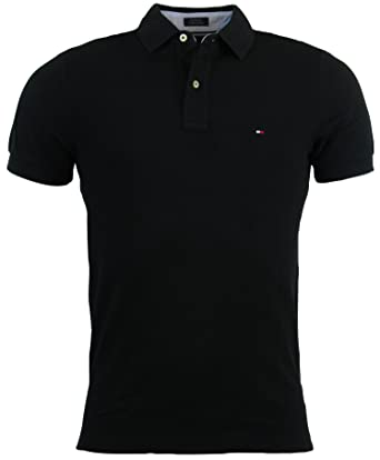 995fce8a Tommy Hilfiger Mens Custom Fit Solid Color Polo Shirt: Amazon.co.uk:  Clothing