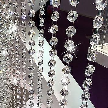 Kristall Girlande Perlenvorhang Türvorhang Perlen Dekovorhang Raumteiler Vorhang