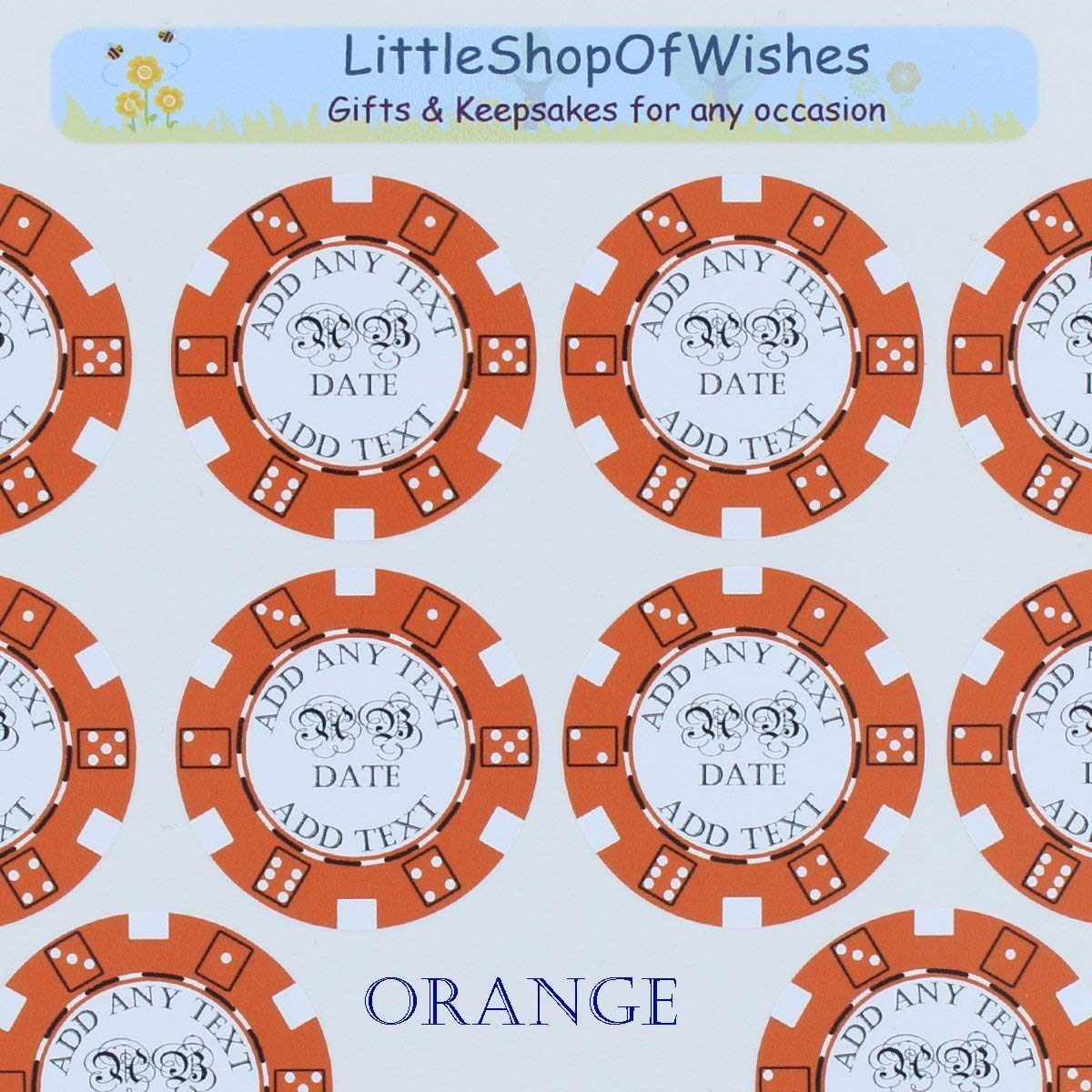 Wedding stickers poker chips vinyl casino theme personalised favours labels seal las vegas style pack of 10 or 50 littleshopofwishes amazon co uk