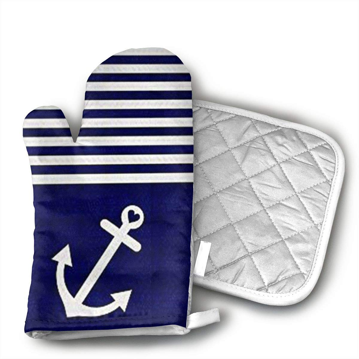 Ubnz17X Navy Blue Love Anchor Nautical Oven Mitts and Pot Holders for Kitchen Set with Cotton Non-Slip Grip,Heat Resistant