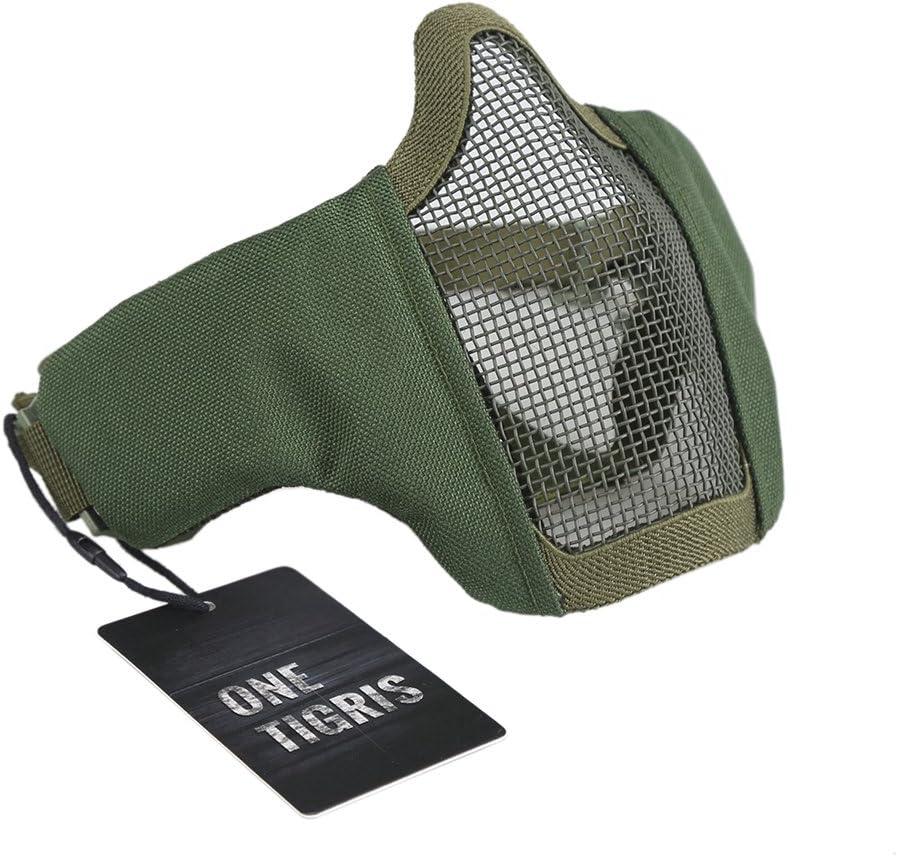 Pour airsoft paintball Demi-masque de protection OneTigris Sangle /élastique r/églable avec maille 15/cm Pliable tactique