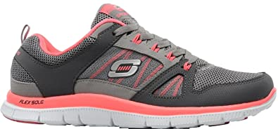 0456caf0a74c Skechers Women s Memory Foam Flex Appeal - Spring Fever Athletic Trainers  Charcoal hot pink (