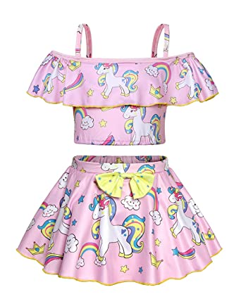 025ddcda6bf19 AmzBarley Girls Unicorn Swimming Costume Two Piece Swimsuit Tankini  Swimwear Bathing Suit for Beach Pool Party