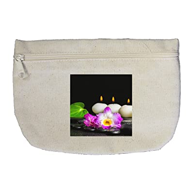 9da0bd9a92 free shipping Canvas Zipper Makeup Bag Spa Concept White Candles Orchid  Flower Style In Print