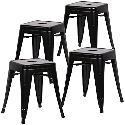 Poly and Bark Trattoria 18 Inch Metal Side Dining Chair and Bar Stool in Black (Set of 4): Kitchen & Dining