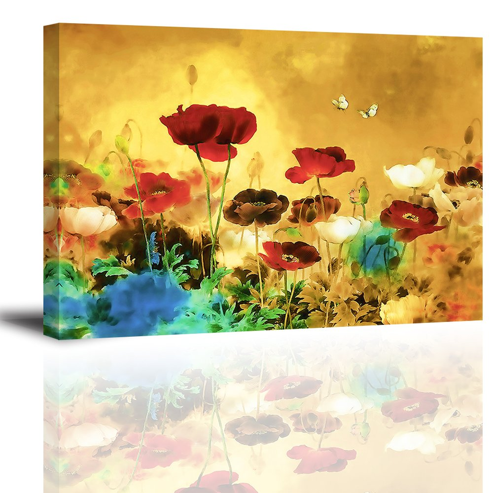 Amazon.com: Blooming Poppies Canvas Wall Art, Modern Flowers Oil ...