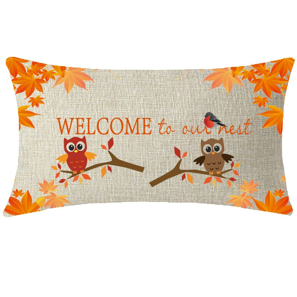 NIDITW Happy Harvest Autumn Season Fall Leaves Animal Bird Owl Welcome to Our Nest Waist Lumbar Cotton Linen Cushion Cover Pillow Case Cover Home Chair Couch Decor Rectangular 12x20 Inches