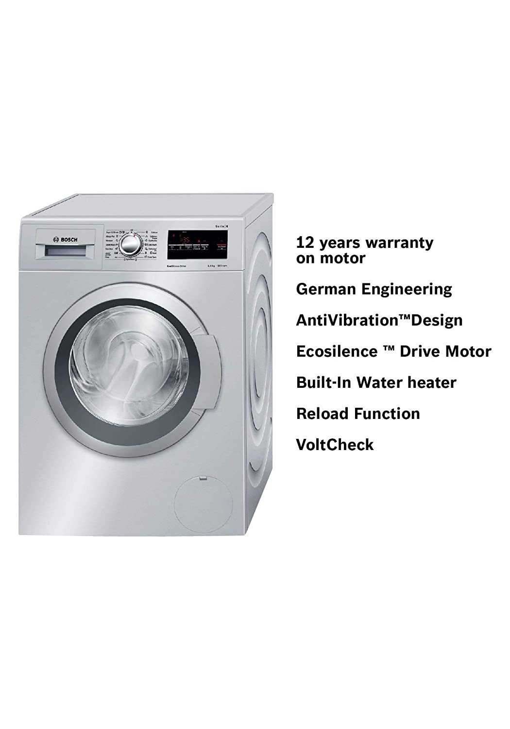Bosch 8 kg Fully-Automatic Front Loading Washing Machine (WAT24168IN,  Silver): Amazon.in: Home & Kitchen