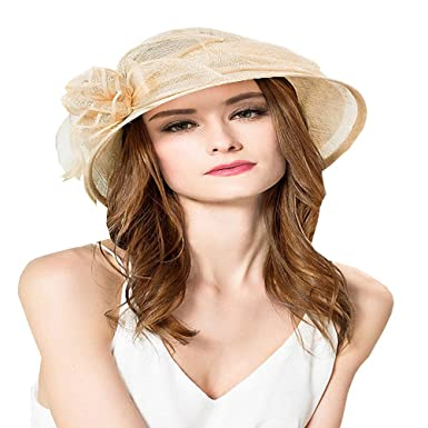 c1cb528ab16 Maitose Women s Cambric Flowers Church Bowler Hats Beige at Amazon ...