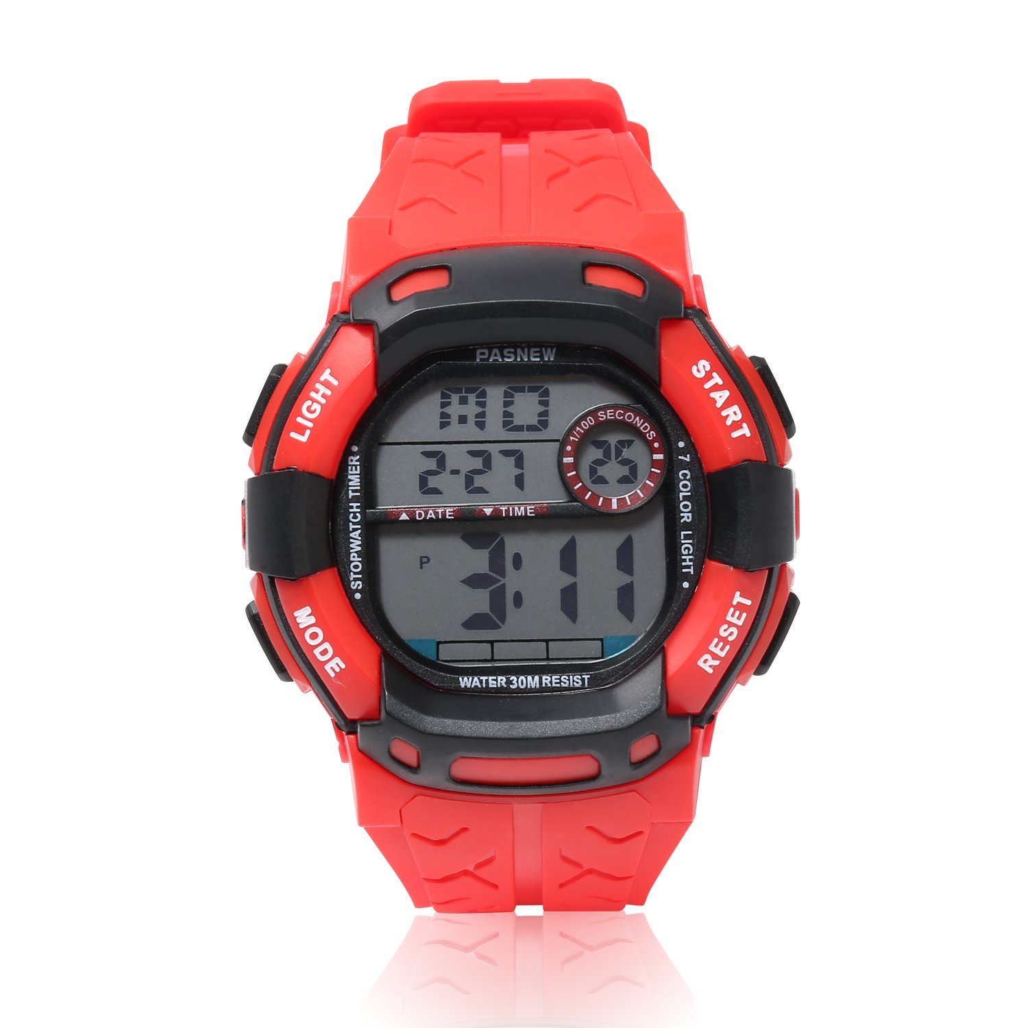 Kids Boys Girls Digital Multi Function Sports Water Resistant 7-Colors Backlight Wrist Watches (RED)