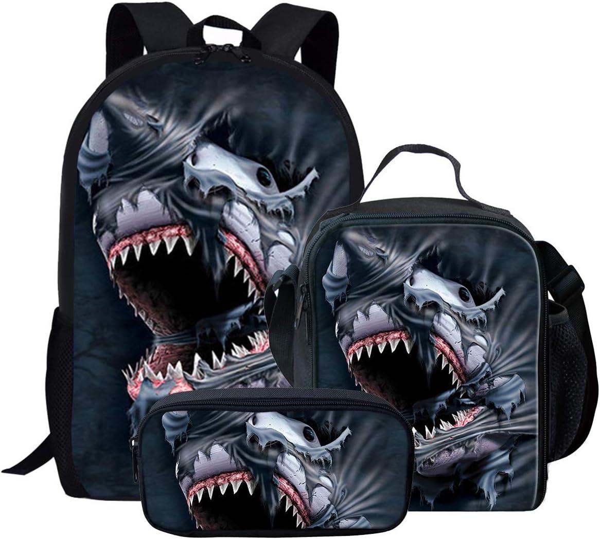 Cool Shark 3D Print Backpack for Kids Pre-School Bookbag Lunch Bag Pencil Bag 3 Piece Set