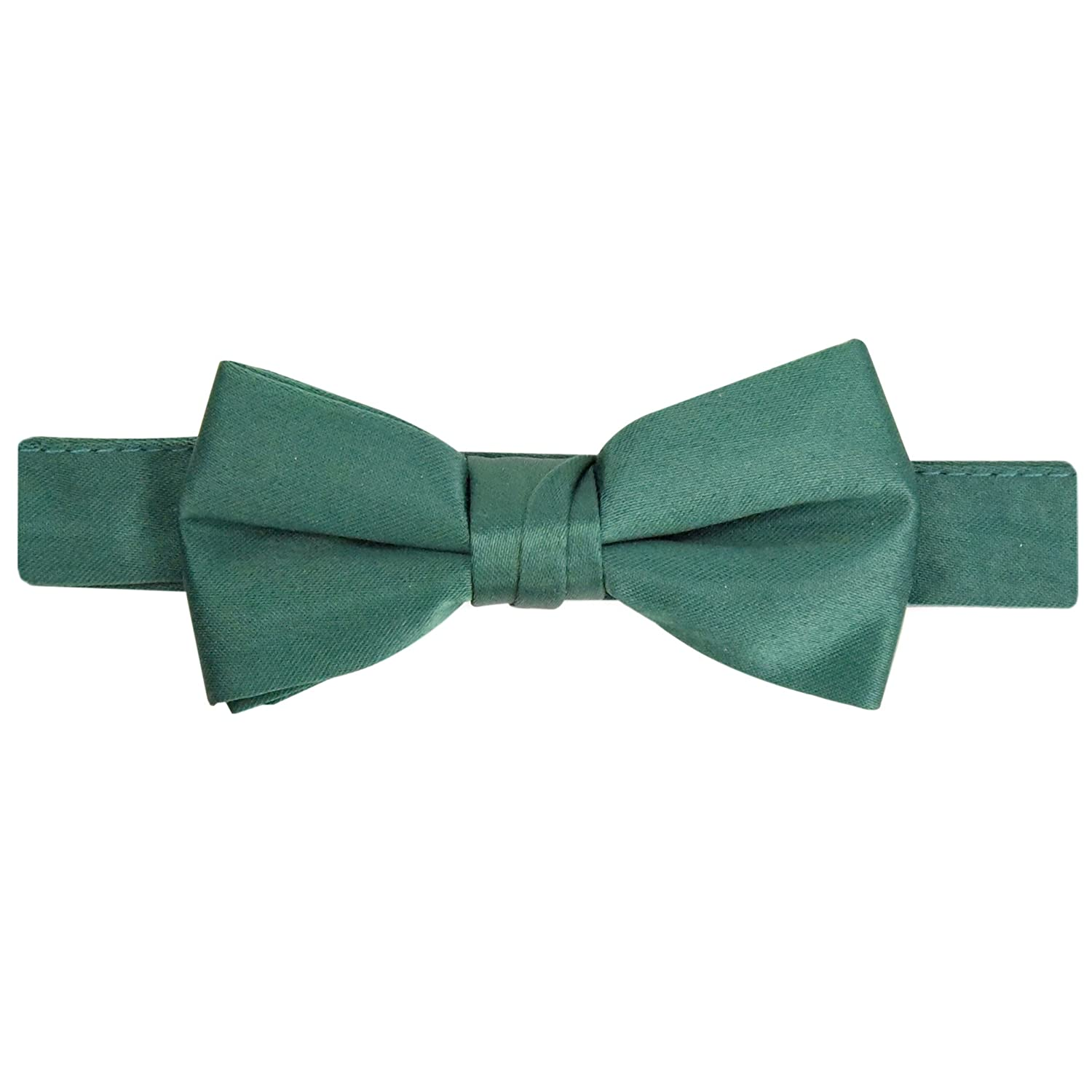 Hold'Em Bow Tie For Mens Boys and Baby Satin look Solid Color Adjustable Pre-tied Made in USA