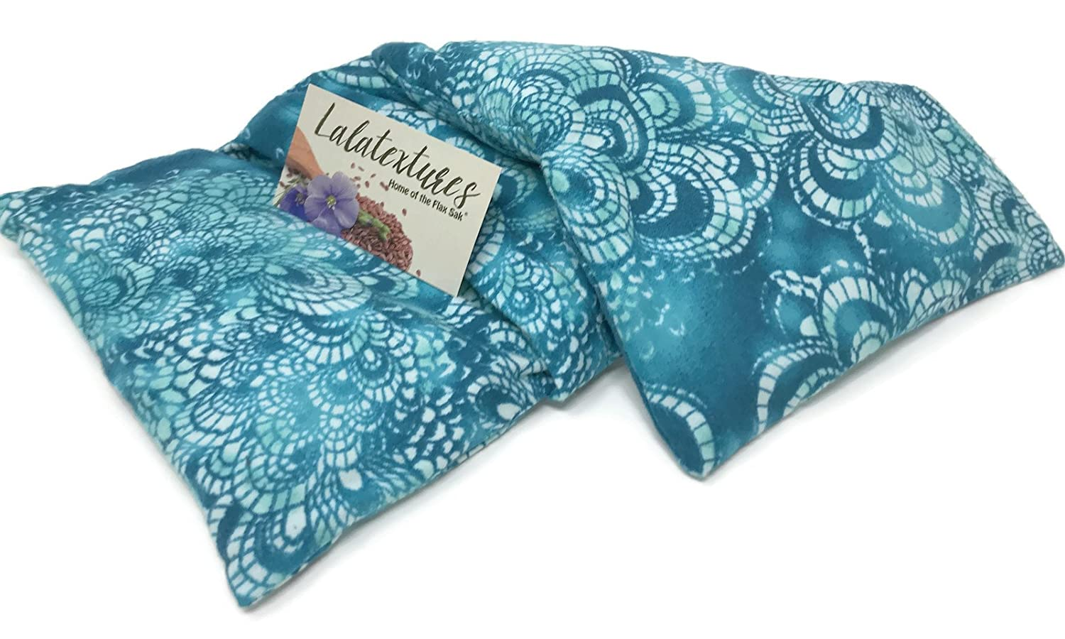 The Flax Sak Unscented Large Microwave Heating Pad With Washable Cover. Hot/Cold Pack With Washable Cover, Ocean Shell.
