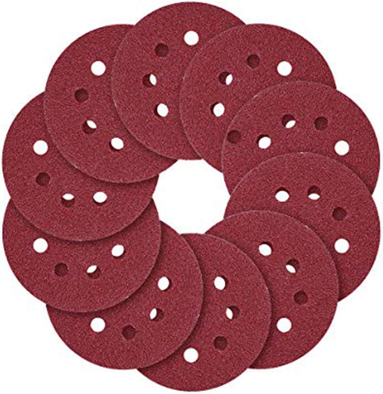 Yoohey 7 Inch 8 Hole Hook and Loop Sandpaper Sanding Disc Sandpaper Sanding Sheets Assorted 100 Grits Sander Paper 30pcs