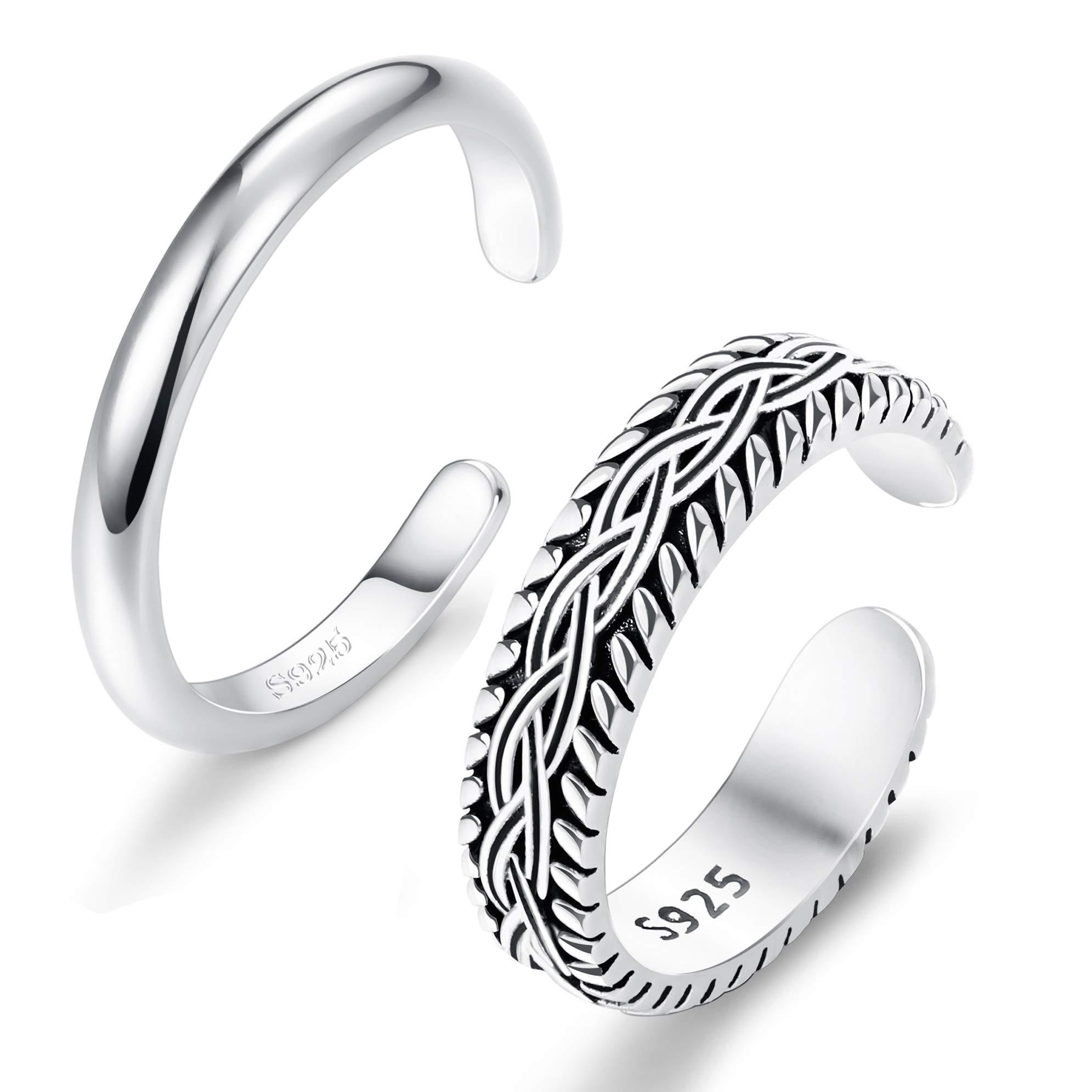 FUNRUN JEWELRY 2 PCS Sterling Silver Toe Ring for Women Girls Retro Vintage Design Adjustable Ring Set