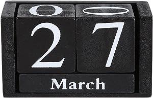 YosooXX European Perpetual Wooden Calendar Desktop Block Wood Calendar DIY Yearly Planner Desk Office Stationery(Black)