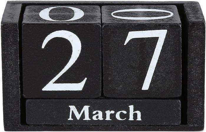 Decorazione Tonysa Calendario in Legno di Concetto di Tempo Vintage Ufficio Nero Ristorante Blocco perpetuo in Legno Rustico Blocco da Tavolo in Legno con Display per la Data del Mese per Bar