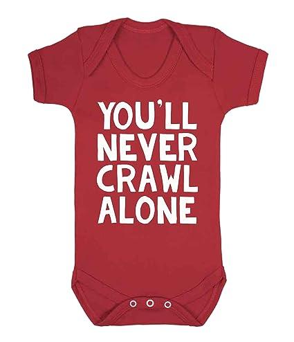 Nunca Te Crawl Alone Liverpool chaleco de bebé Pelele Babygrow Liverpool fútbol ventilador Novelty rojo rosso
