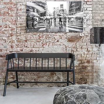 Teak Indoor Wooden Bench Seat In Black Amazon Co Uk Kitchen Home