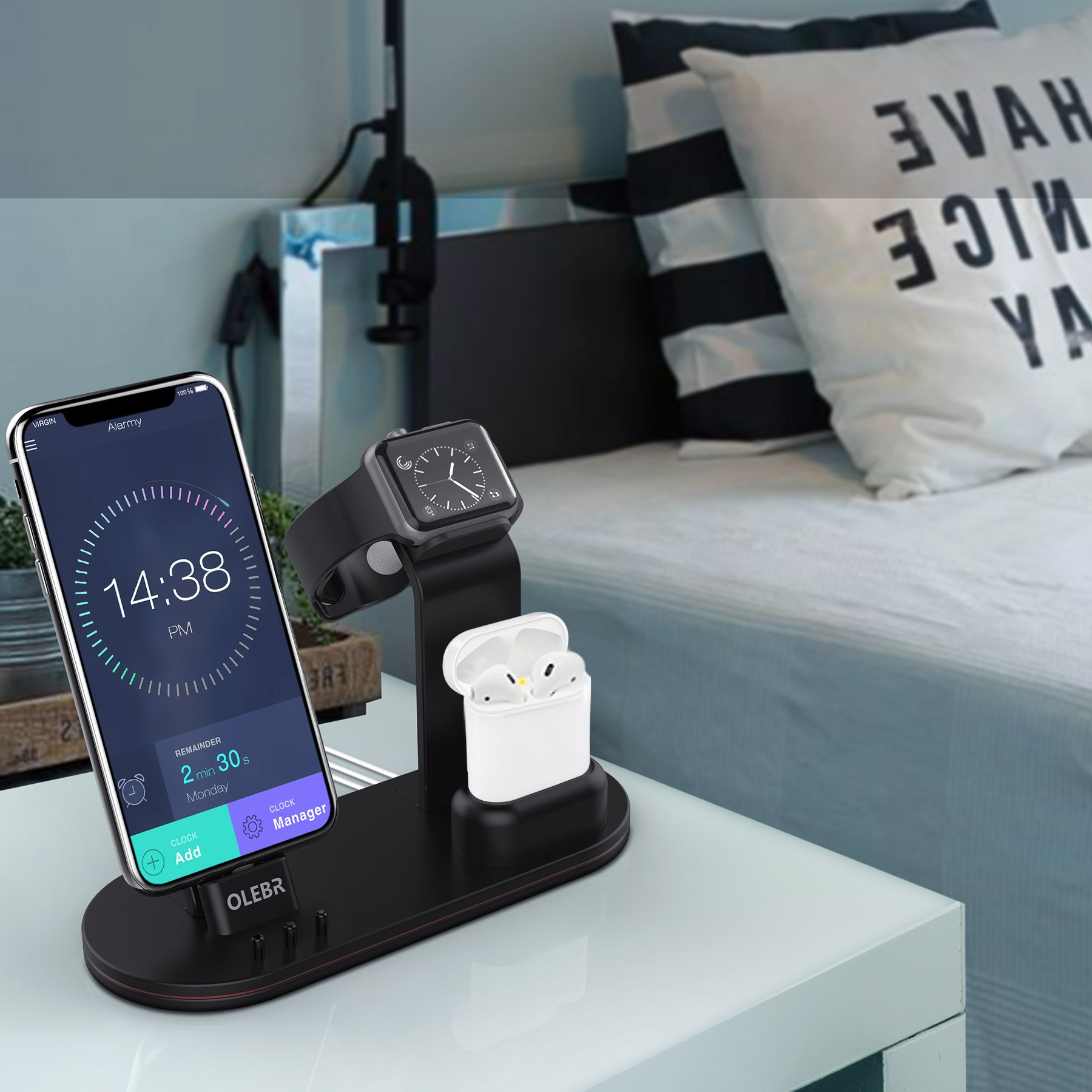 OLEBR Charging Stand for Apple Watch Aluminum Watch Charging Stand for AirPods, Apple Watch, Apple Watch Series 3/2/1/ AirPods/iPhone X/8/8Plus/7/7 Plus /6S /6S Plus/iPad by OLEBR (Image #3)