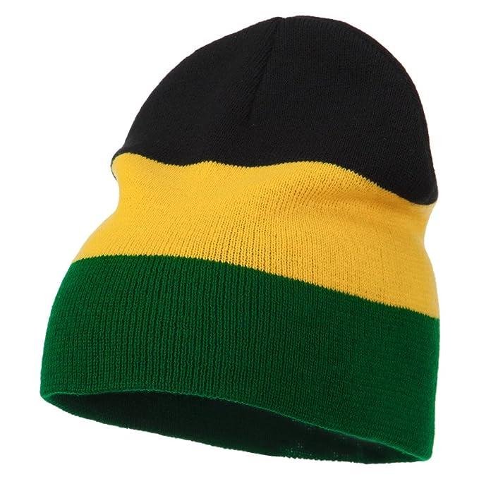 a12f7249815 Amazon.com  3 Tone Design Rasta Beanie - Black Yellow Green OSFM ...