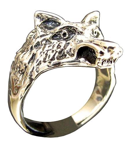 Cabeza de lobo anillo Coyote en bronce (tamaño H a Z + 3 ...