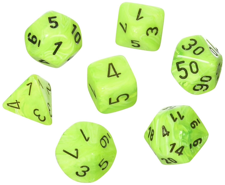 Polyhedral Dice :渦明るいグリーンW /ブラック   B0777C53QM