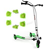 FoxHunter TRX Pro4 Tri Scooter   Green Mini Winged Push Scooter for kids   Trike Slider Drifter   3 Wheel Boys + Girls Scooter   *FREE SAFETY GEAR INCLUDED*