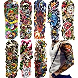18.9x6.7'' Fashion Temporary Tattoo Transfer Stickers - 8 Sheets Large Tattoo Body Stickers for Man Women Girl Fake Tattoo Waterproof Removeable Non-Toxics & Safe for All Skin Body Tattoo, Colorful