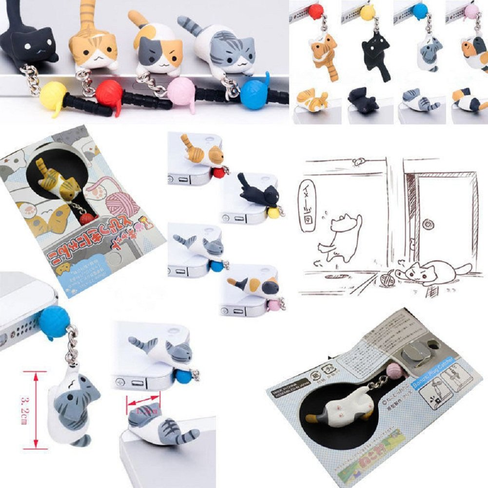 1Pc Cute Cat and Ball 3.5mm Earphone Ear Cap Anti Dust Plug Cover For Cell Phone (Black) by USGreatgorgeous (Image #5)