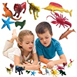 Toy Cubby Jungle and Sea Miniature 90 Pieces Realistic Colorful Toy Animals