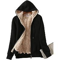 Yeokou Women's Full Zip up Sherpa Lined Hoodie Sweatshirt Jacket Coat
