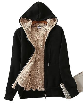 Yeokou Women s Casual Full Zip Up Sherpa Lined Hoodie Sweatshirt Jacket  Coat (X-Small 117565f6b