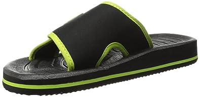 92b0dceea298 BERTELLI Mens Slide Beach Sandal Slipper With A Firm Feel And Adjustable  Strap Black Lime
