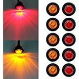 """ Purishion 10x 3/4"""" Round LED Clearence Light Front Rear Side Marker Indicators Light for Truck Car Bus Trailer Van…"