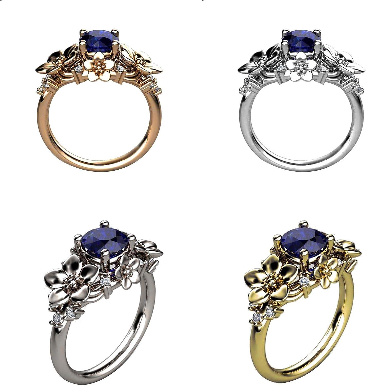 FINIVE 5 Anillos para Mujer de Moda con Diamantes de imitación de Zafiro Floral para Dedo de Boda o Compromiso