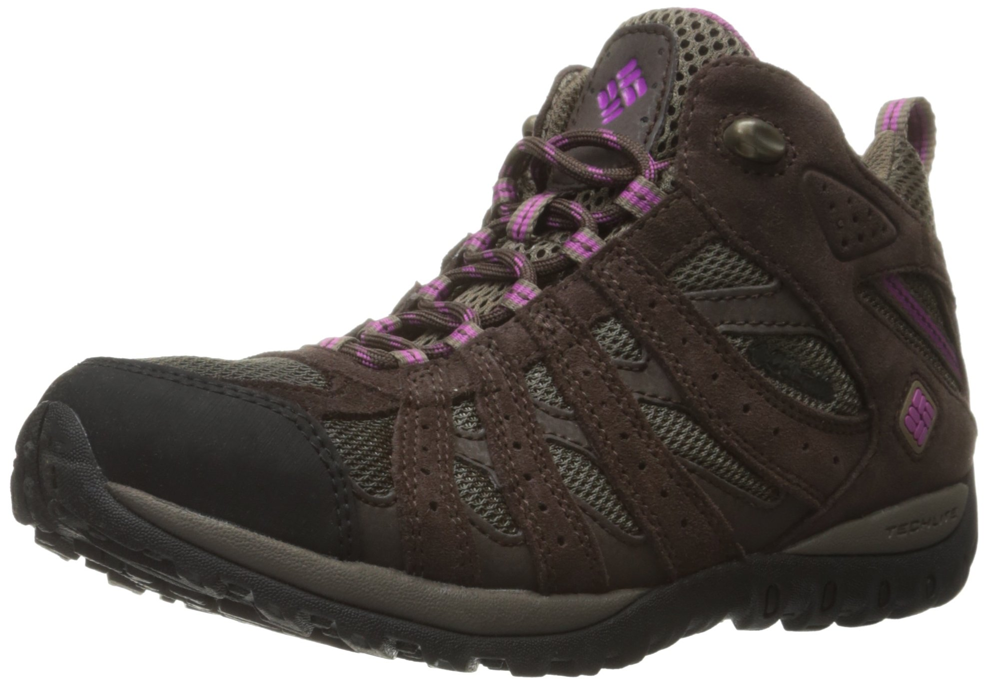 Columbia Women's Redmond Waterproof Mid Hiking Boots, Mud/Intense Violet, 9 B US