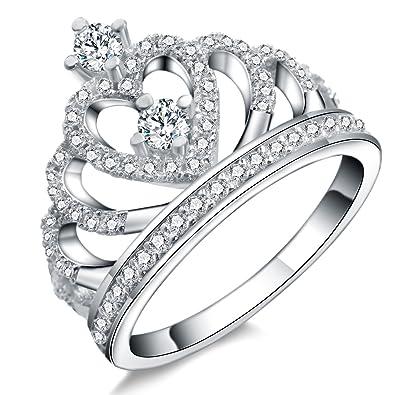 Amazon.com: Paitse - Juego de anillos de plata de ley 925 ...