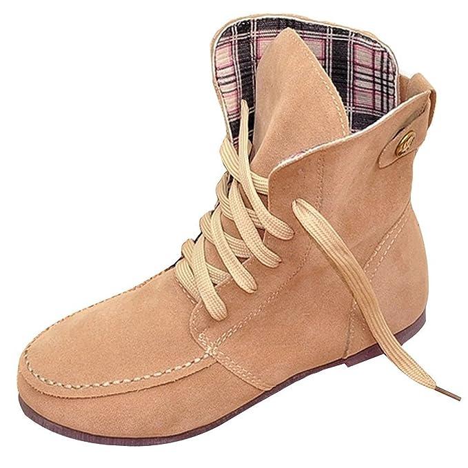 Minetom Otoño Invierno Botas Calentar Botines Planos Chic Martin Botas de Nieve Lazada Zapatos para Mujer: Amazon.es: Ropa y accesorios