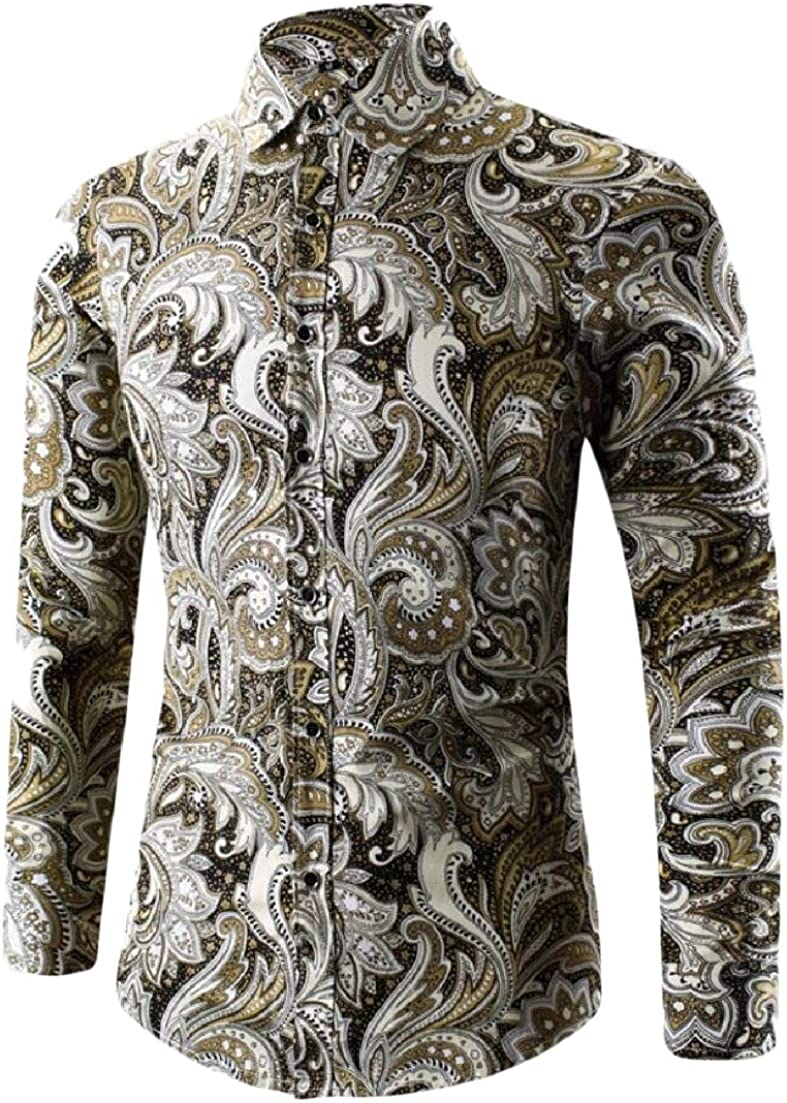 AngelSpace Men Floral Printed Button Long-Sleeve Comfy Oversized Western Shirt