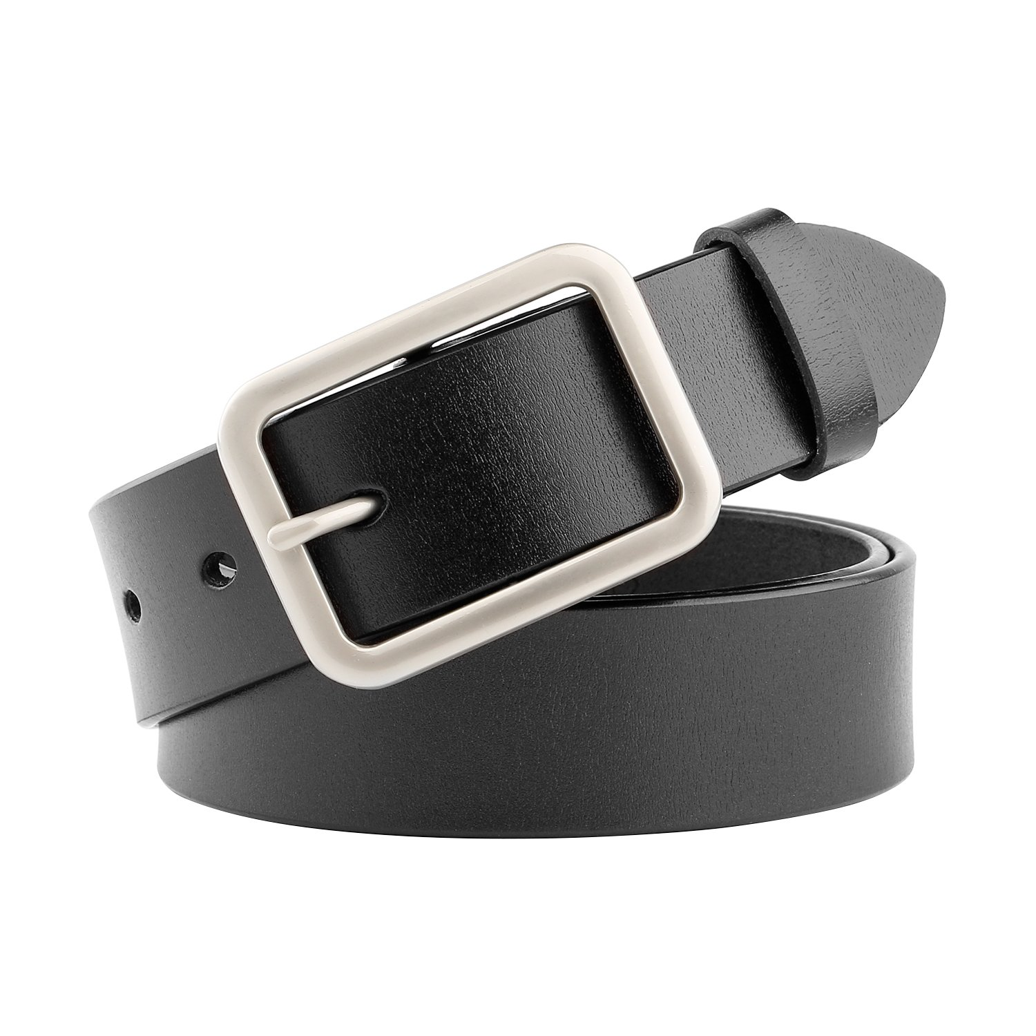 WHIPPY New Arrival Jeans Belt for Women Genuine Leather Belt with Pin Buckle, Black, 1.3''wide, Suit Pant Size 25''-29'' by Whippy (Image #1)