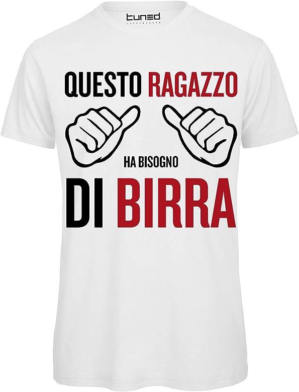 premium selection ba02d 33585 CHEMAGLIETTE! T-Shirt Divertente Uomo Maglietta con Frase Questo Ragazzo ha  Bisogno di Birra Tuned