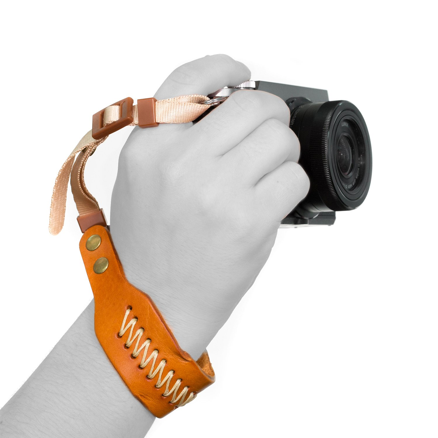 MegaGear MG928 Leather Wrist Strap Comfort Padding, Enhanced Hand Grip Stability and Security for All Cameras (SLR/DSLR) One Size Fits All, Dark Brown