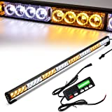 Emergency Light Bar 36 Inch 16 Flash Modes 32 Led Emergency Strobe Lights Traffic Advisor Directional Flashing Safety Light Bar with Led Display Screen Controller(35.5 Inch, Yellow/White) (Color: Yellow/White, Tamaño: 35.5 Inch with Controller)