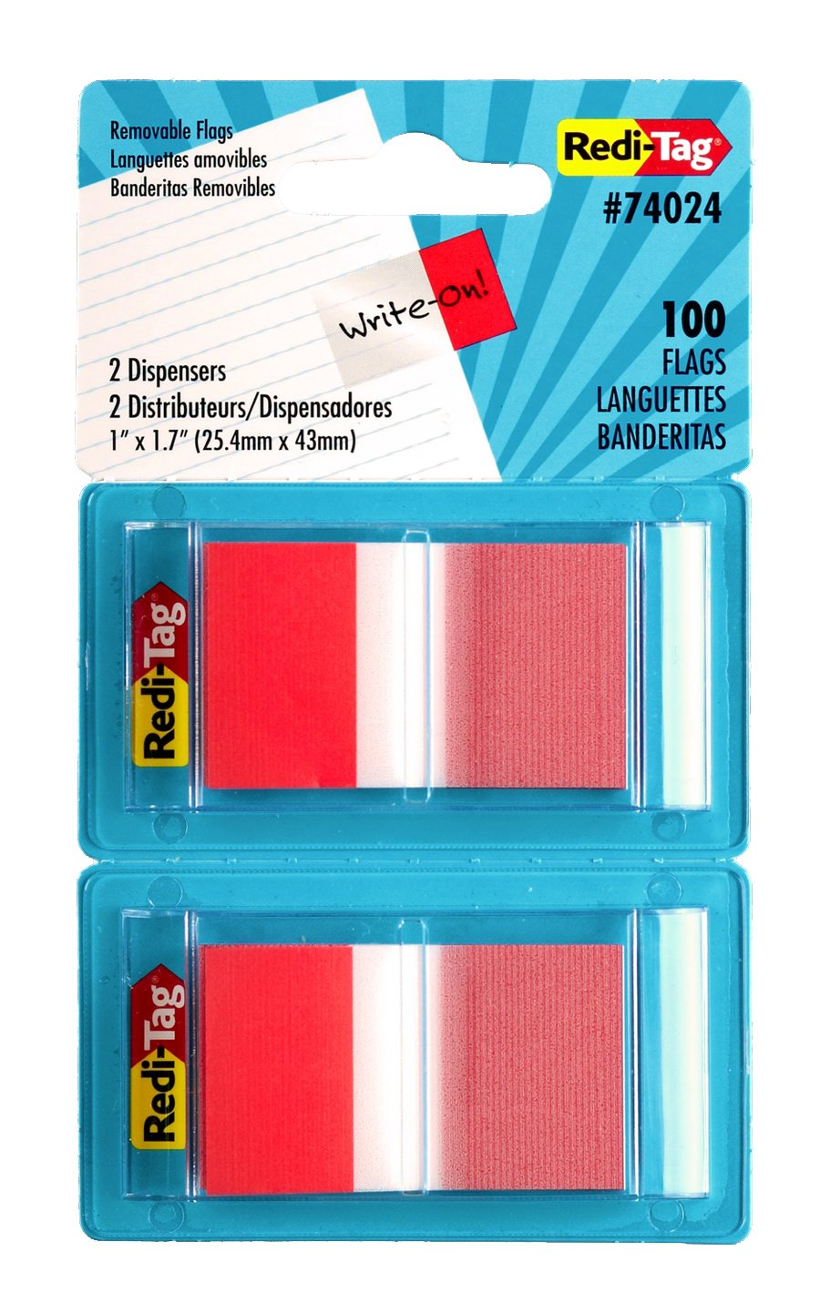Redi-Tag Pop-Up Page Flags, 2 Dispensers per Pack, 100 Flags Total, 1 x 1.7 Inches, Red (74024)